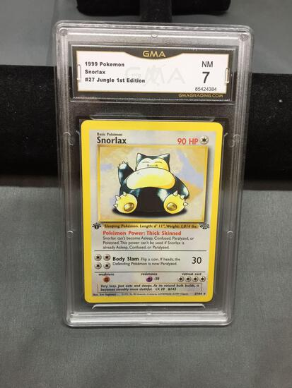 GMA Graded 1999 Pokemon Jungle 1st Edition SNORLAX Rare Trading Card - NM 7