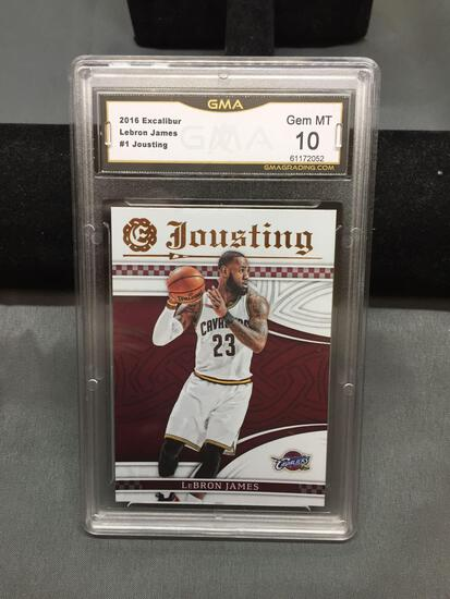 GMA Graded 2016-17 Panini Excalibur Jousting LEBRON JAMES Cavs Insert Basketball Card - GEM MINT 10