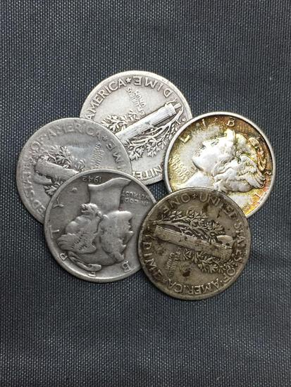 5 Count Lot of Mixed Date United States Mercury Silver Dimes - 90% Silver Coins from COIN STORE