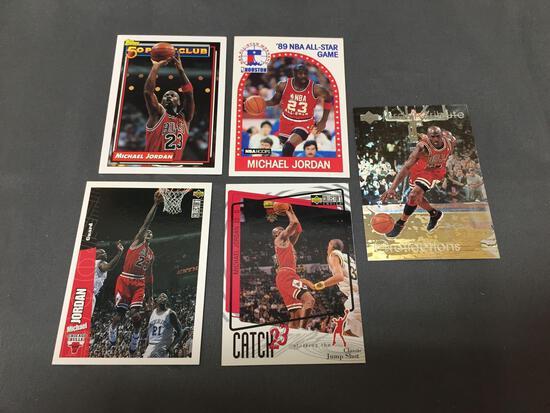 5 Card Lot of MICHAEL JORDAN Chicago Bulls Basketball Cards from HUGE JORDAN HOARD - WOW