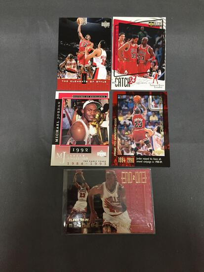 5 Card Lot of MICHAEL JORDAN Chicago Bulls Basketball Cards from HUGE JORDAN HOARD - WOW