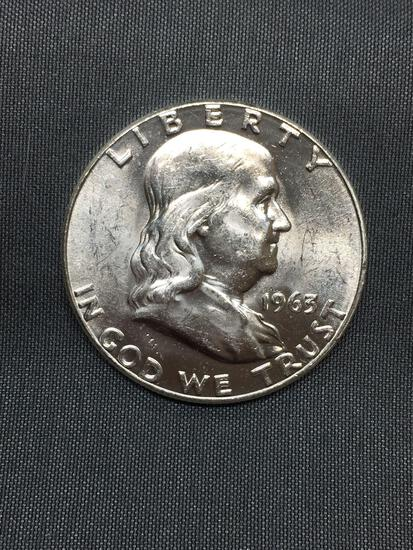 BU Uncirculated 1963 United States Franklin Silver Half Dollar - 90% Silver Coin from COIN STORE