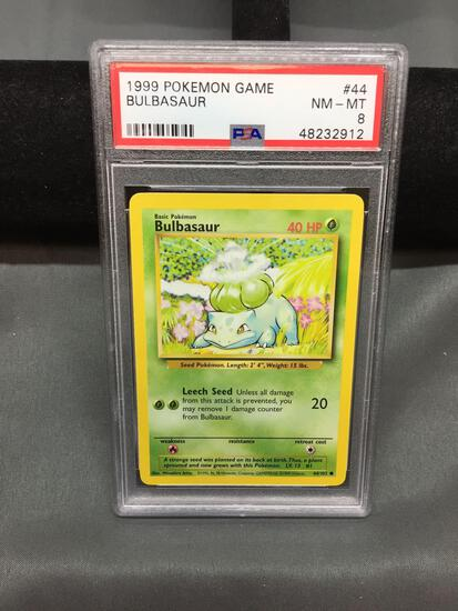 PSA Graded 1999 Pokemon Base Set Unlimited BULBASAUR Trading Card - NM-MT 8