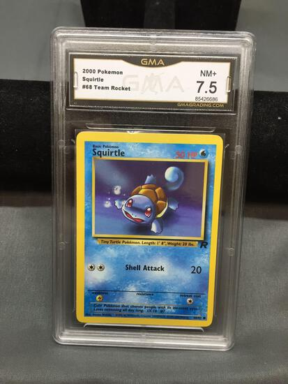GMA Graded 2000 Pokemon Team Rocket SQUIRTLE Trading Card - NM+ 7.5
