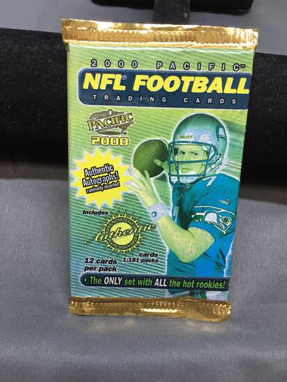 Factory Sealed 2000 Pacific Football 12 Card Hobby Pack - Tom Brady Rookie?