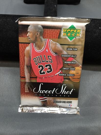 Factory Sealed 2003-04 Upper Deck Sweet Shot 4 Card Hobby Pack - Lebron James Auto Rookie?