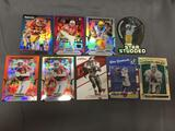 9 Card Lot of Football Serial Numbered, Prizm & Refractor Cards with Hall of Famers & Stars