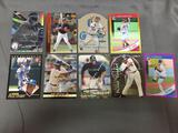 9 Card Lot of Baseball Serial Numbered, Prizm & Refractor Cards with Hall of Famers & Stars