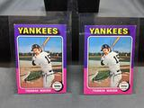 2 Card Lot of 1975 Topps Mini #20 THURMAN MUNSON Yankees Vintage Baseball Cards