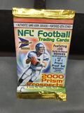 Factory Sealed 2000 Pacific Prism Football 5 Card Hobby Pack - Tom Brady Rookie?