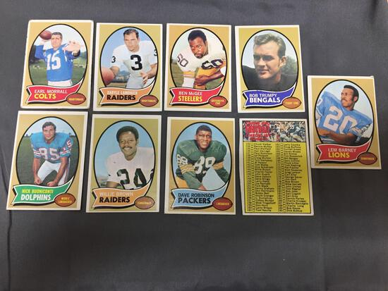 9 Card Lot of 1970 Topps Football Vintage Cards from Estate Collection
