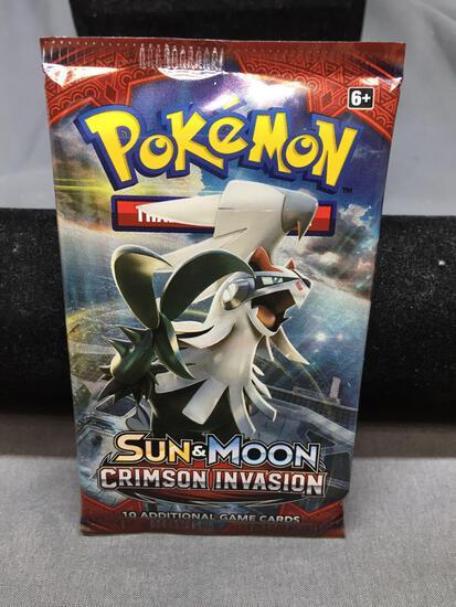 Factory Sealed Pokemon Sun & Moon CRIMSON INVASION 10 Card Booster Pack