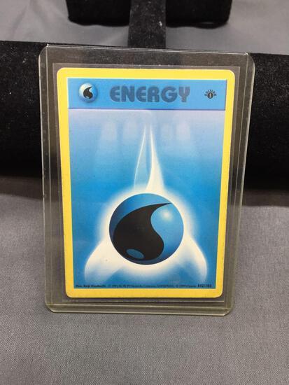 Vintage Pokemon Base Set 1st Edition Shadowless WATER ENERGY Trading Card 102/102