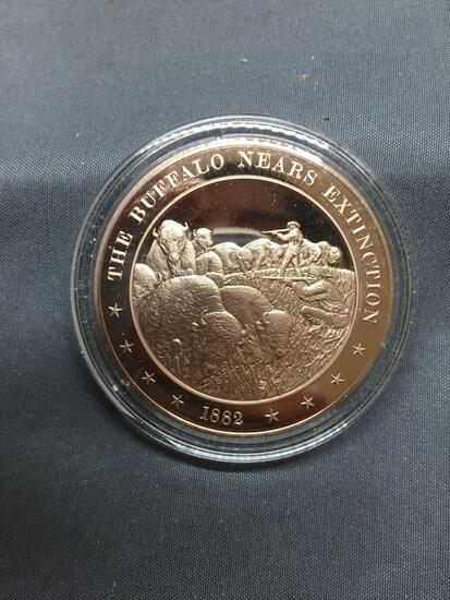 Franklin Mint 1 Ounce .999 Solid Bronze Proof Art Bronze Bullion Round Coin