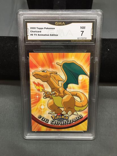 GMA Graded 2000 Topps Pokemon TV Animation Edition #6 CHARIZARD Trading Card - NM 7