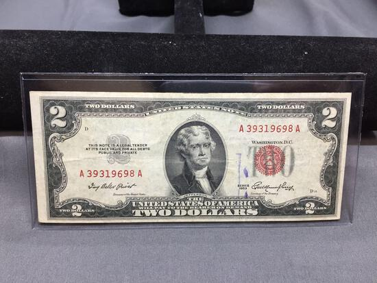 1953 United States Jefferson $2 Red Seal Bill Currency Note from Estate