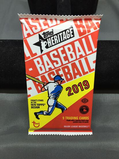 Factory Sealed 2019 Topps Heritage Baseball 9 Card Pack from Hobby Box