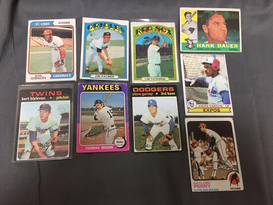 9 Card Lot of Vintage Baseball Card Hall of Famers, Super Stars & Rookie Cards from Massive