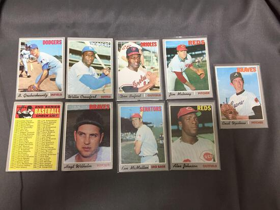 9 Card Lot of 1970 Topps Vintage Baseball Cards from Huge Collection