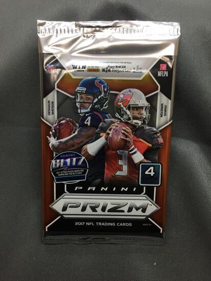 Factory Sealed 2017 Panini Prizm Football 4 Card Pack - Patrick Mahomes Silver Rookie?