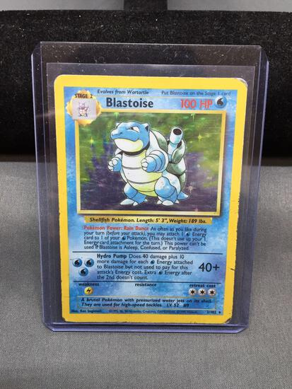 Pokemon Base Set Unlimited BLASTOISE Holofoil Rare Trading Card 2/102