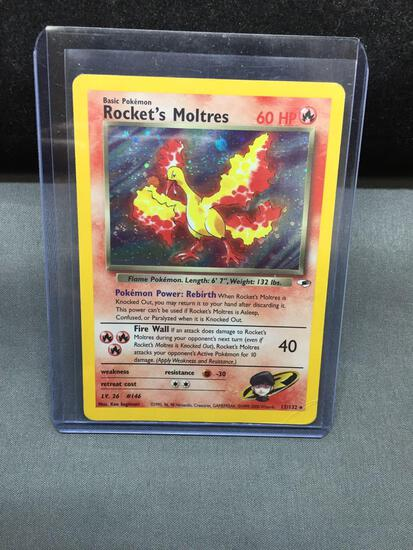 Pokemon Gym Heroes ROCKET'S MOLTRES Holofoil Rare Trading Card 12/132