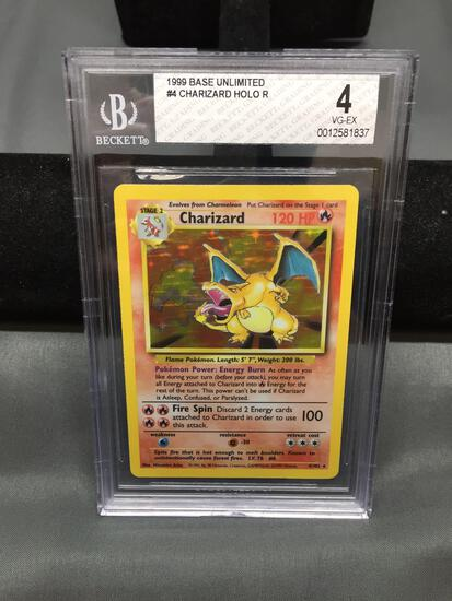 BGS Graded 1999 Pokemon Base Set Unlimited CHARIZARD Holofoil Rare Card - VG-EX 4