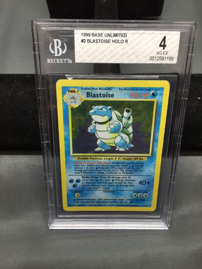 BGS Graded 1999 Pokemon Base Set Unlimited BLASTOISE Holofoil Rare Card - VG-EX 4