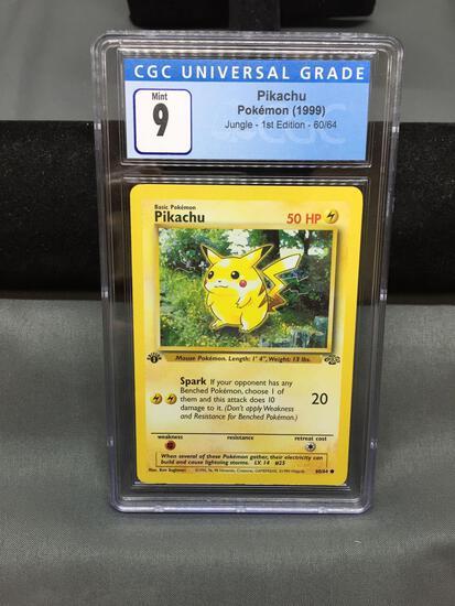 CGC Graded 1999 Pokemon Jungle 1st Edition PIKACHU Red Cheeks Trading Card - MINT 9