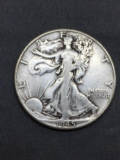1945 United States Walking Liberty Silver Half Dollar - 90% Silver Coin