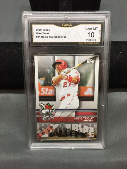 GMA Graded 2020 Topps HR Challenge #24 MIKE TROUT Angels Baseball Card - GEM MINT 10