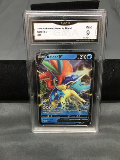 GMA Graded 2020 Pokemon Sword & Shield KELDEO V Holofoil Trading Card - MINT 9