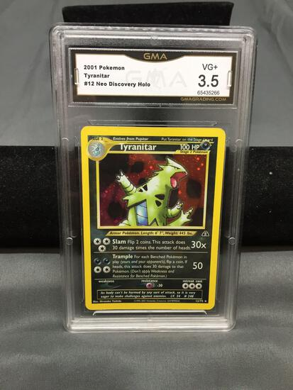 GMA Graded 2001 Pokemon Neo Discovery TYRANITAR Holofoil Rare Trading Card - VG+ 3.5