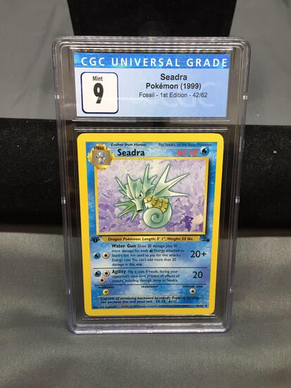 CGC Graded 1999 Pokemon Fossil 1st Edition SEADRA Trading Card - MINT 9