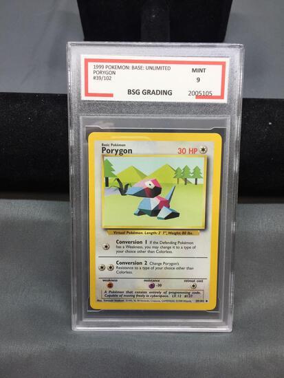 BSG Graded 1999 Pokemon Base Unlimited PORYGON Trading Card - MINT 9
