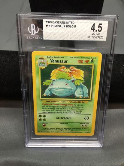 BGS Graded 1999 Pokemon Base Set Unlimited VENUSAUR Holofoil Rare Trading Card - VG-EX+ 4.5