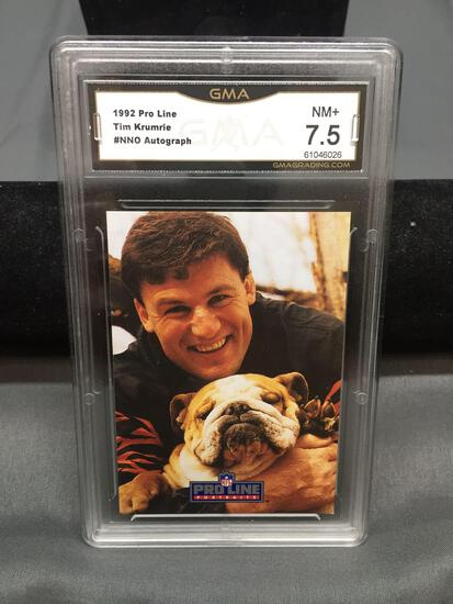 GMA Graded 1992 Pro Line Autographs TIM KRUMRIE Bengals Autographed Football Card - NM+ 7.5