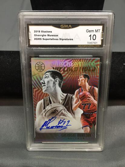 GMA Graded 2019-20 Panini Illusions GHEORGHE MURESAN Bullets Autographed Bbasketball Card - GEM MINT