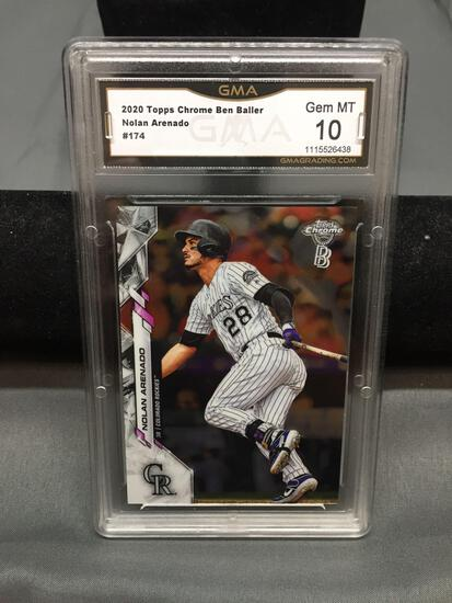 GMA Graded 2020 Topps Chrome Ben Baller NOLAN ARENADO Rockies Baseball Card - GEM MINT 10