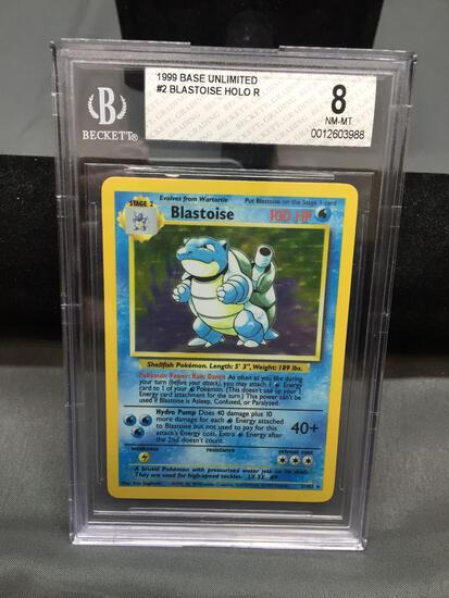 BGS Graded 1999 Pokemon Base Set Unlimited BLASTOISE Holofoil Rare Trading Card - NM-MT 8