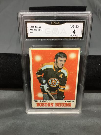 GMA Graded 1970-71 Topps #11 PHIL ESPOSITO Bruins Vintage Hockey Card - VG-EX 4
