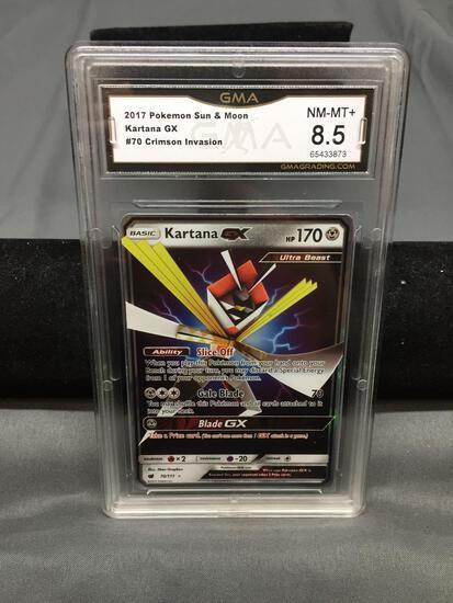 GMA Graded 2017 Pokemon Crimson Invasion KARTANA GX Holofoil Rare Trading Card - NM-MT+ 8.5