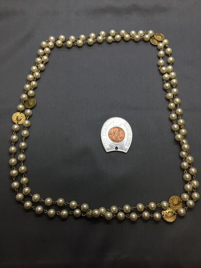 Lot of Two, One Super Value Food Stores Lucky Horseshoe w/ Penny Alloy Charm & Faux Pearl Beaded