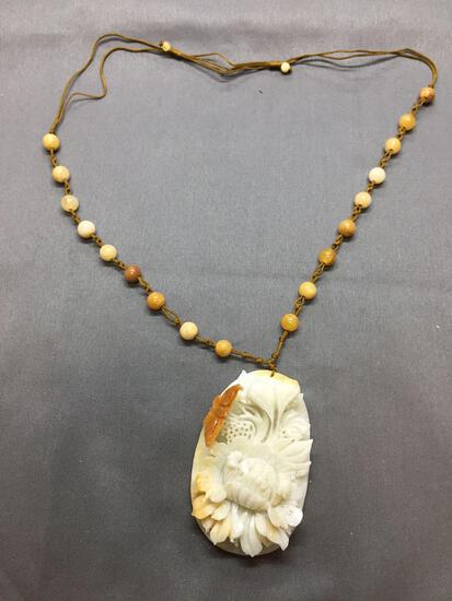 Ornate Asian Detailed Hand-Carved Oval 75x45mm Orange & White Jade Flower Bouquet Pendant w/ Jade