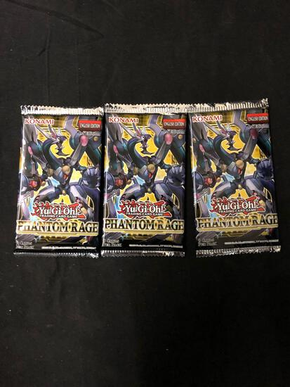 3 Factory Sealed Packs of Yugioh PHANTOM RAGE 9 Card Booster Packs from Hobby Box