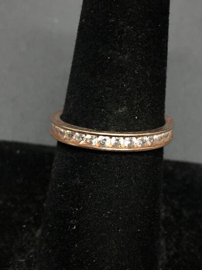 IBB Designer Channel Set Round Faceted CZ Featured 2.5mm Wide Rose-Tone Sterling Silver Eternity