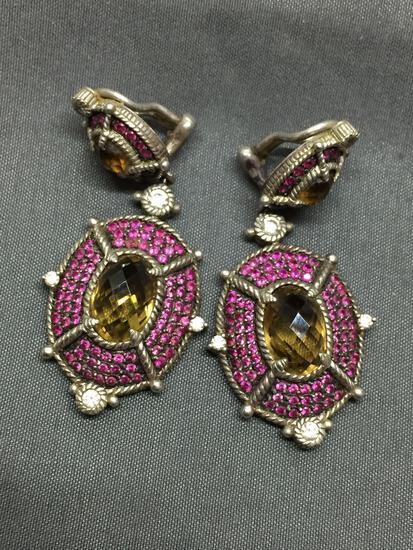 Judith Ripka Designer 50mm Long 24mm Wide Pair of Two-Tier Sterling Silver Dangle Earrings w/ Oval