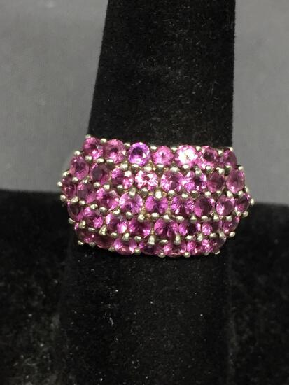 Five Rows Round Faceted Pink CZ Staggered Shared Prong Set 13mm Wide Tapered Sterling Silver Ring