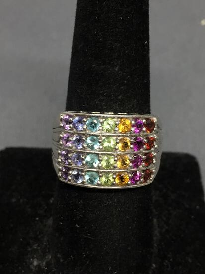 Multi-Colored Shared Prong Set Round Faceted Cluster Rainbow Setting 14mm Wide Tapered Sterling