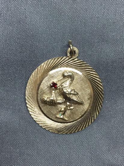 M&M Designer Round 25mm Gold-Tone Sterling Silver Stork w/ Baby Birth Gemstone Accented Detailed